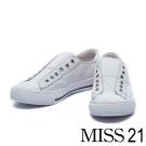 休閒鞋 MISS 21 隨性潮流無鞋帶造型牛皮休閒鞋-白