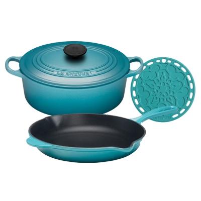 LE-CREUSET-橢圓鐵鍋-23cm-單柄圓鐵煎盤-23cm-矽膠法式隔熱墊
