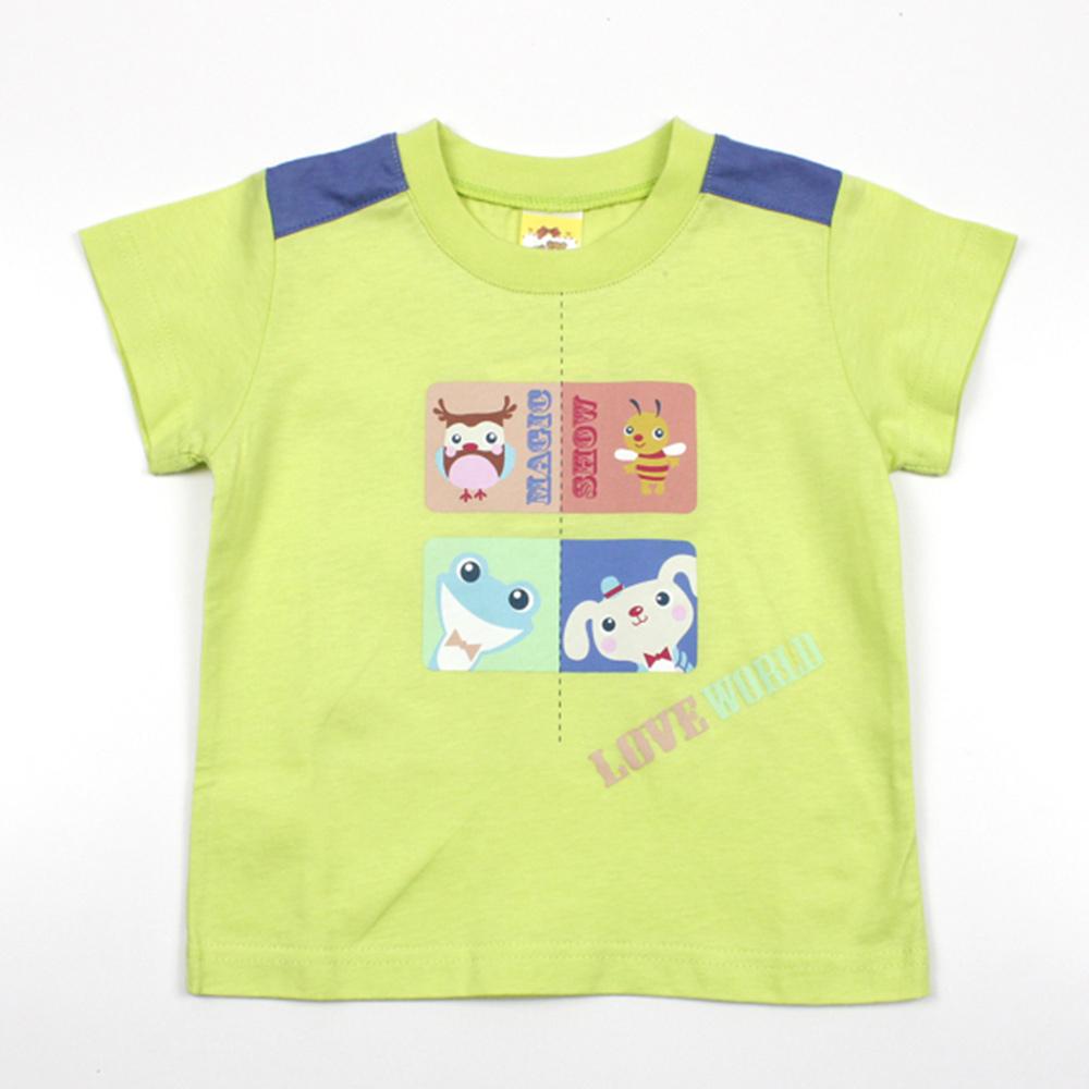 愛的世界 MYBABY 純棉羅紋圓領印圖短袖T恤/1歲