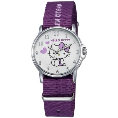 HELLO KITTY 凱蒂貓愛心滿滿帆布手錶-白x紫/33mm