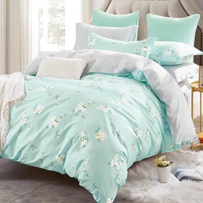 美夢元素 台製-精梳棉-涼被床包組-清秀花影(加大)