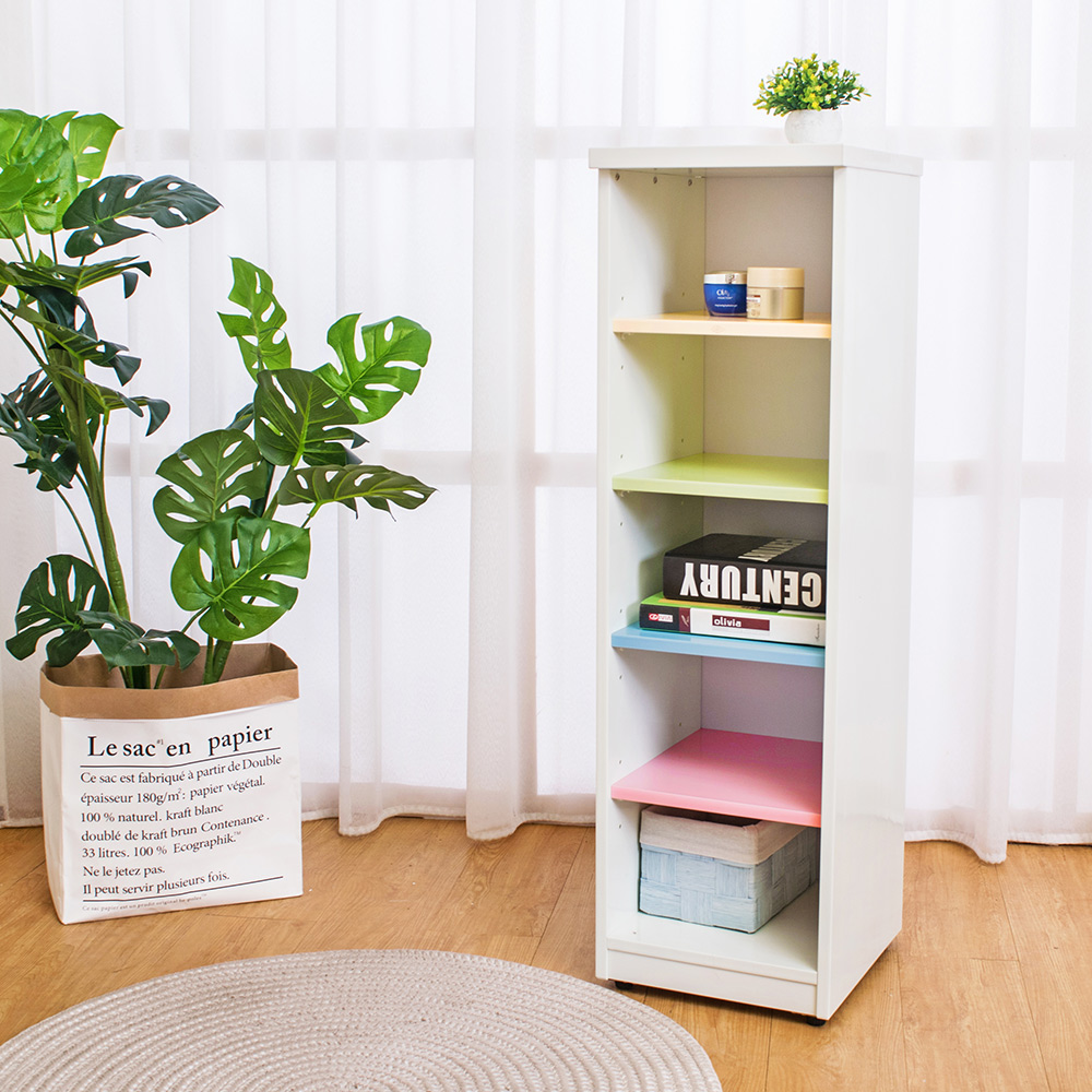 Birdie南亞塑鋼-1尺開放式五格收納置物櫃/隙縫櫃(彩色板)-30x33x100cm