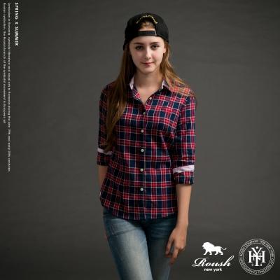 ROUSH 女生經典合身款法蘭絨格紋襯衫 (2色)
