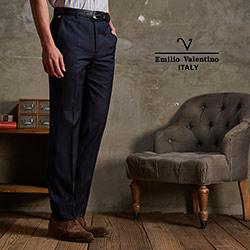Emilio Valentino-范倫鐵諾條紋西褲_深藍(75-6B801)