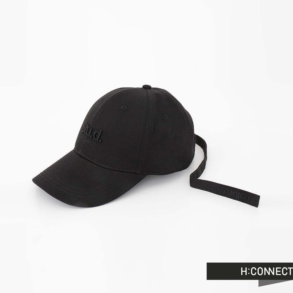H:CONNECT 韓國品牌 Stu.d.立體電繡鴨舌帽 - 黑