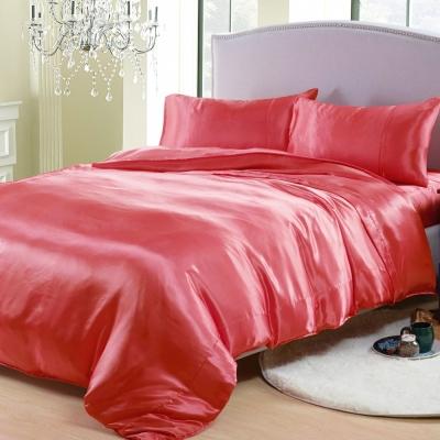 RODERLY 杜鵑紅 絲緞 加大四件式被套床包組