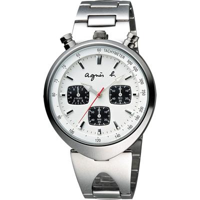 agnes b. 新世界探險三眼計時腕錶-銀/39mm