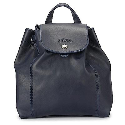 Longchamp Le Pliage Cuir小羊皮後背包-寶藍色