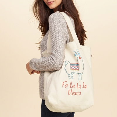 HCO Hollister 海鷗 個性塗鴉印刷托特布背帶