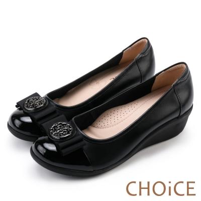 CHOiCE 舒適甜美 織帶蝴蝶飾釦牛皮娃娃鞋-黑色