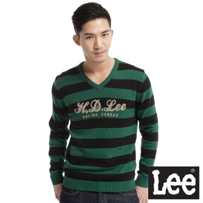 Lee-回歸起源-V領條紋配色毛衣長袖毛衣-男款-黑-綠