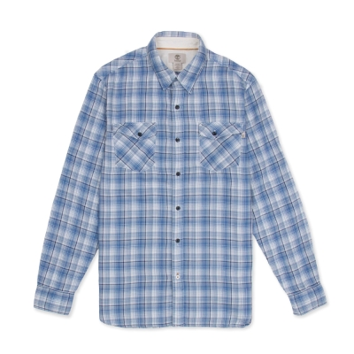 Timberland 男款湛藍色雙口袋格紋長袖襯衫