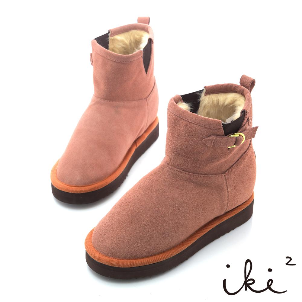 iki2機能雪靴系列-法式心指針扣環真皮雪靴-粉紅