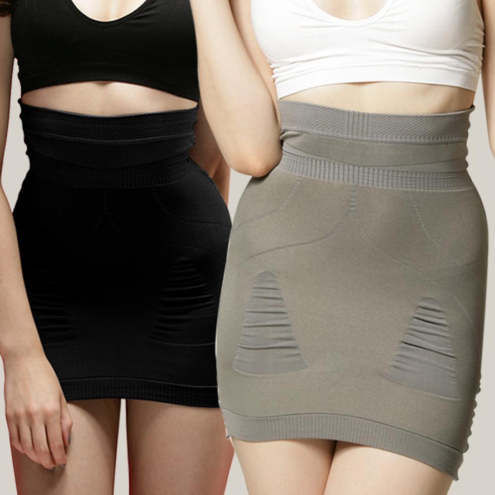 足下物語  280D美臀纖腰塑2件組裙 (S-L) (黑+灰)