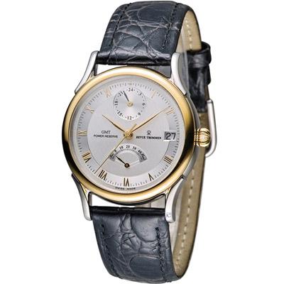 梭曼 Revue Thommen GMT動力儲存機械腕錶-黑色/34mm