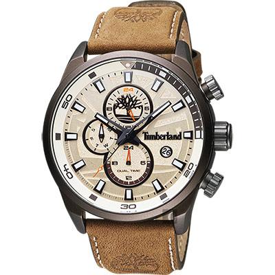 Timberland Henniker II 戶外兩地時間腕錶-黃x咖啡/46mm