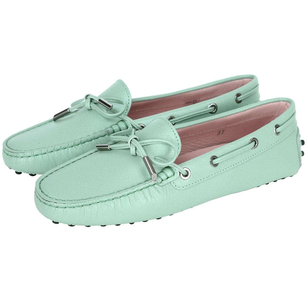 TOD'S Gommino 壓紋牛皮綁帶豆豆休閒鞋(女鞋/淺綠色)
