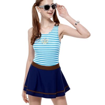 泳裝 連身式 水藍海軍風連身裙式女泳裝 聖手牌