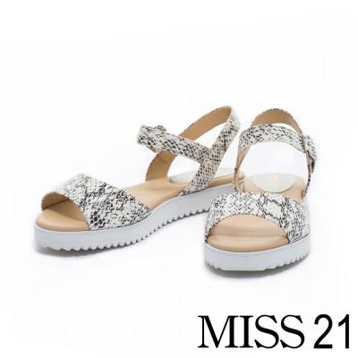 涼鞋 MISS 21 寬版一字弧形造型全真皮輕巧涼鞋-咖