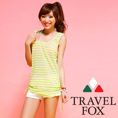 夏之戀TRAVEL FOX 比基尼泳衣 背心式外搭罩衫 螢光色系