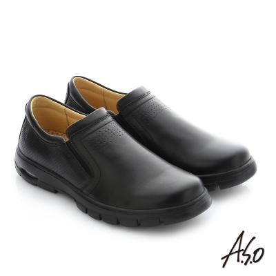 A.S.O 挺力氣墊 真皮直套式鬆緊帶機能休閒鞋 黑色