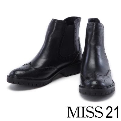 短靴 MISS 21 經典復古牛津擦色牛皮粗跟短靴-黑