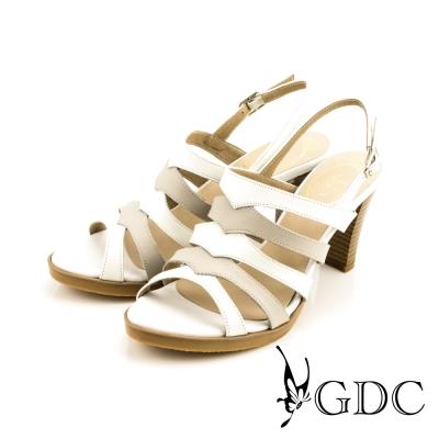 GDC-性感時尚雙色側扣帶真皮羅馬高跟涼鞋-白色