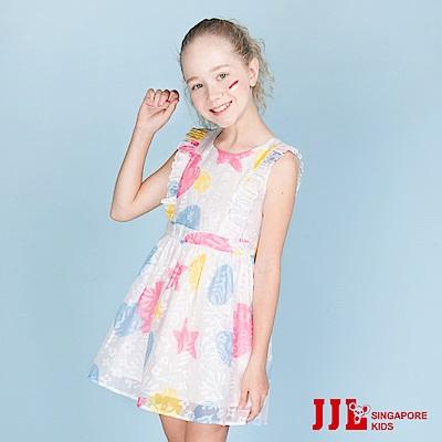 JJLKIDS  夢幻貝殼薄紗裙無袖洋裝(白色)