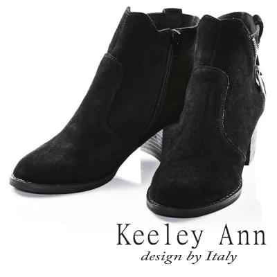 Keeley Ann簡約斜拉鍊飾釦真皮粗跟短靴(黑色)