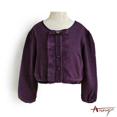可愛圓領荷葉水鑽鈕扣開襟外套*1280紫