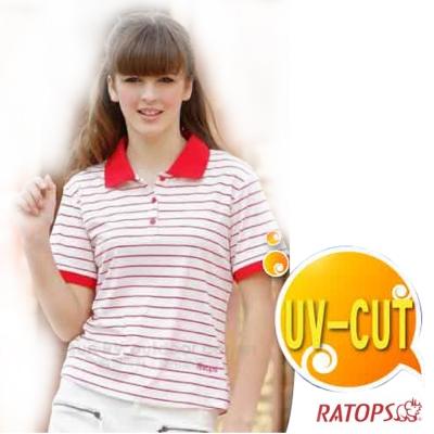 【瑞多仕】女款 休閒條紋休閒POLO衫_DB7701 白底紅條色 V1