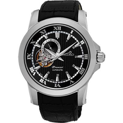 SEIKO Premier 24小時顯示開芯機械錶(SSA277J2)-黑/41mm