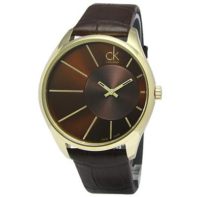 cK Deluxe 放射狀刻度極簡皮帶腕錶-咖啡金/ 43 mm