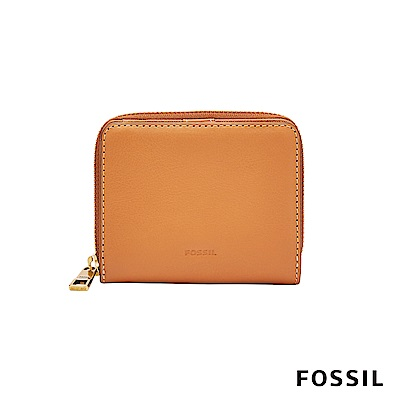FOSSIL EMMA真皮RFID拉鍊短夾-褐色