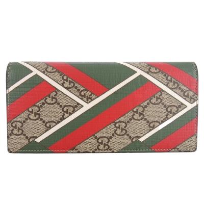 GUCCI GG chevron 印刷 PVC對開卡長夾(卡其棕x紅綠)