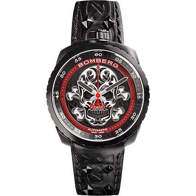 BOMBERG 炸彈錶 BOLT-68 BADASS骷髏限量版機械錶-黑/45mm