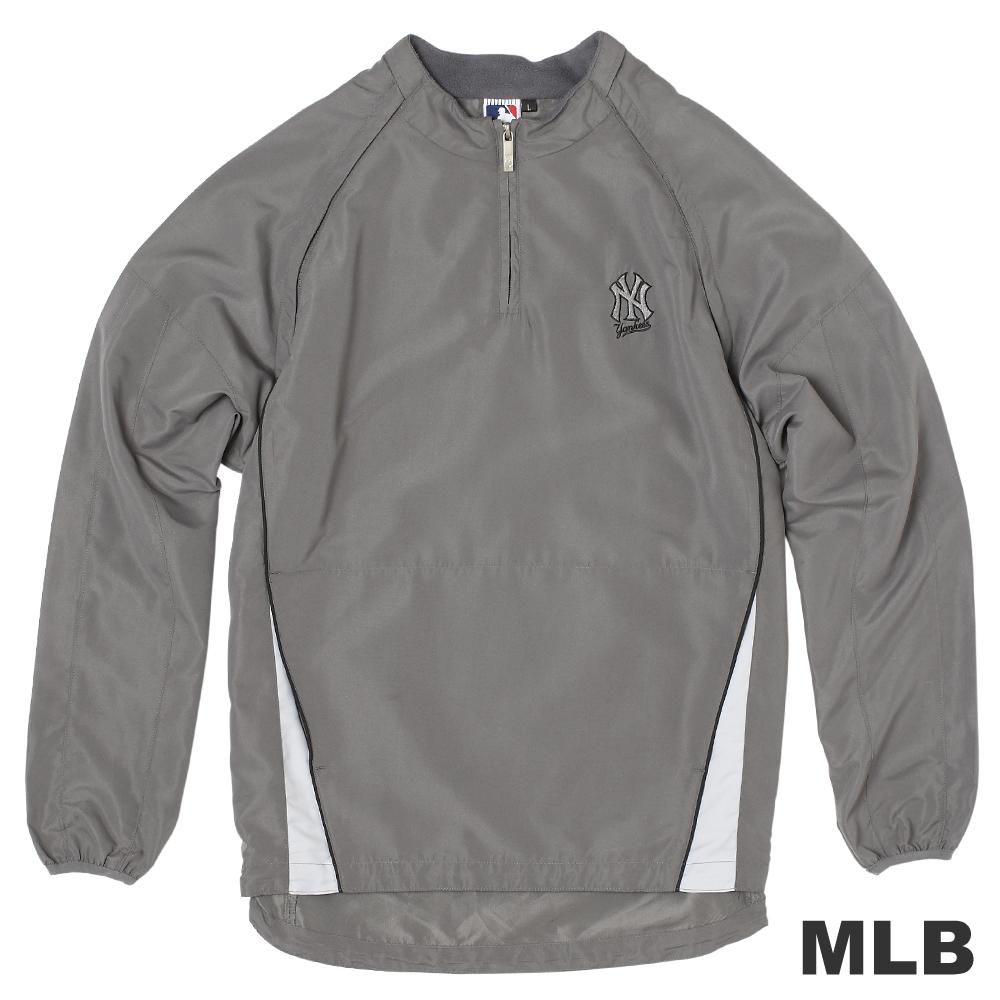 MLB-紐約洋基隊可拆袖防風長袖T恤-灰(男)
