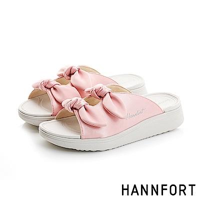 HANNFORT Ultra Comf 4D真絲蝴蝶結厚底拖鞋-女-珊瑚粉