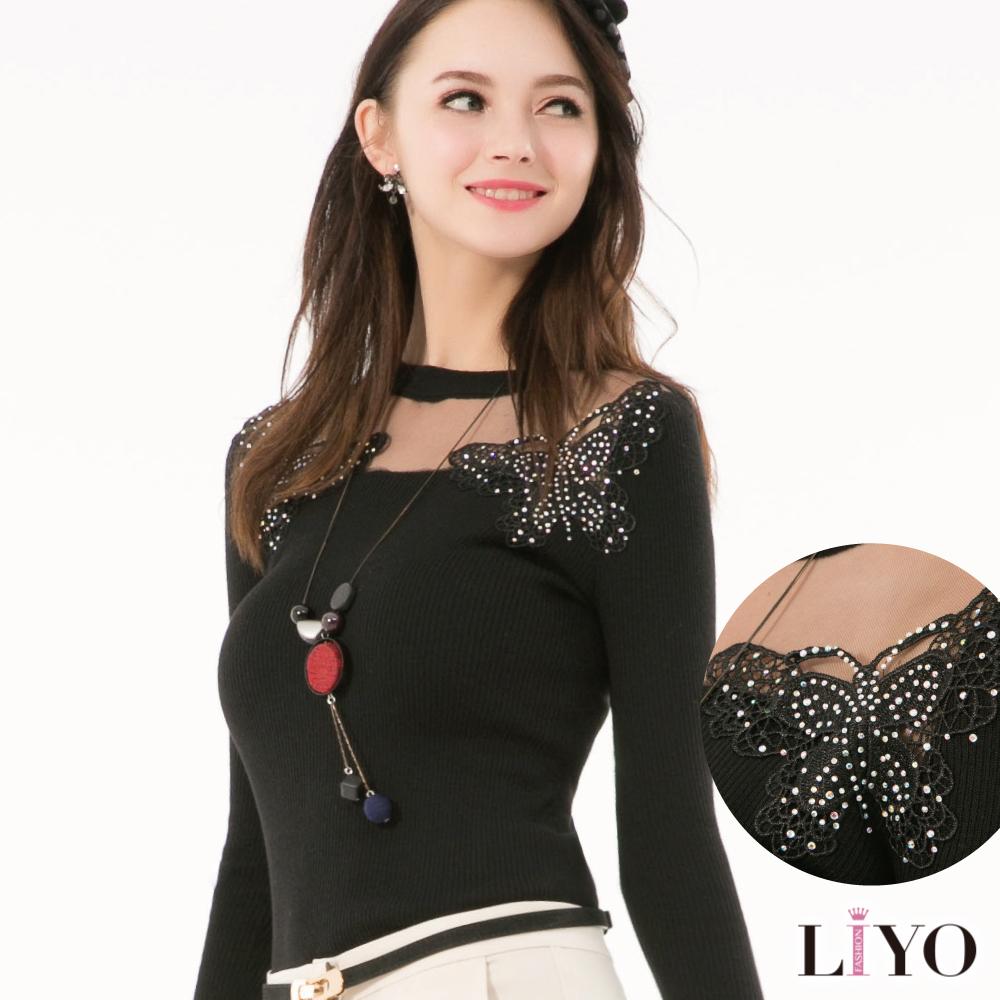 LIYO理優縷空拼接蝴蝶繡花針織上衣(黑)