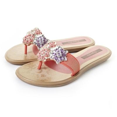 GRENDHA 粉彩晶鑽花朵時尚托鞋-橘色