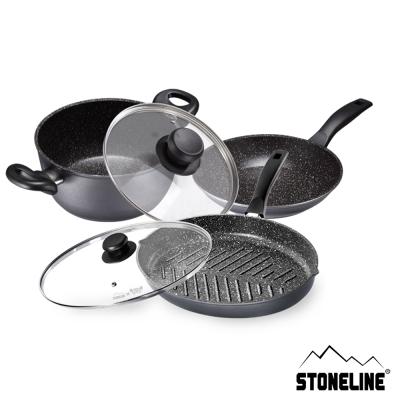 德國STONELINE阿爾卑斯山原礦鍋超值3鍋2蓋5件組(35魚盤鍋+20平底+20湯鍋)
