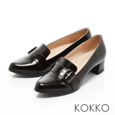 KOKKO-英倫女紳尖頭牛皮樂福跟鞋-經典黑