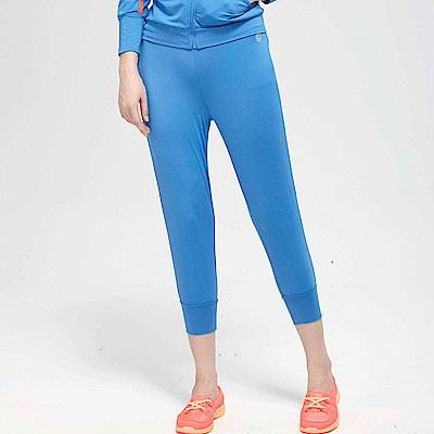 【TOP GIRL】合身抽繩POLY針織運動七分褲-藍色