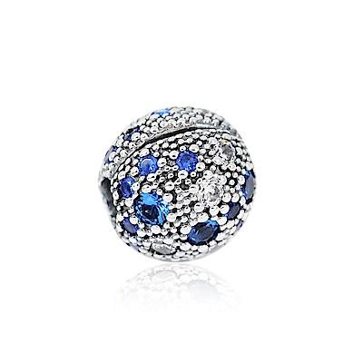 Pandora 潘朵拉 圓形藍色宇宙行星鋯石 純銀墜飾 串珠