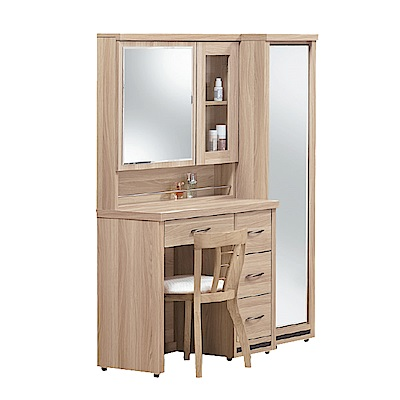 Boden-米朗羅4尺化妝桌+收納立鏡櫃組合(贈化妝椅)-119x40x158cm