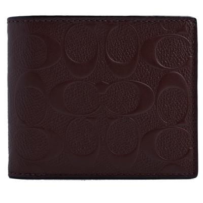 COACH 經典滿版浮雕防刮皮革雙摺八卡男短夾(附輕便夾)-咖啡