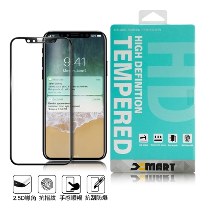 XM Apple iPhone X 5.8吋 超透滿版 2.5D 鋼化玻璃貼-黑...