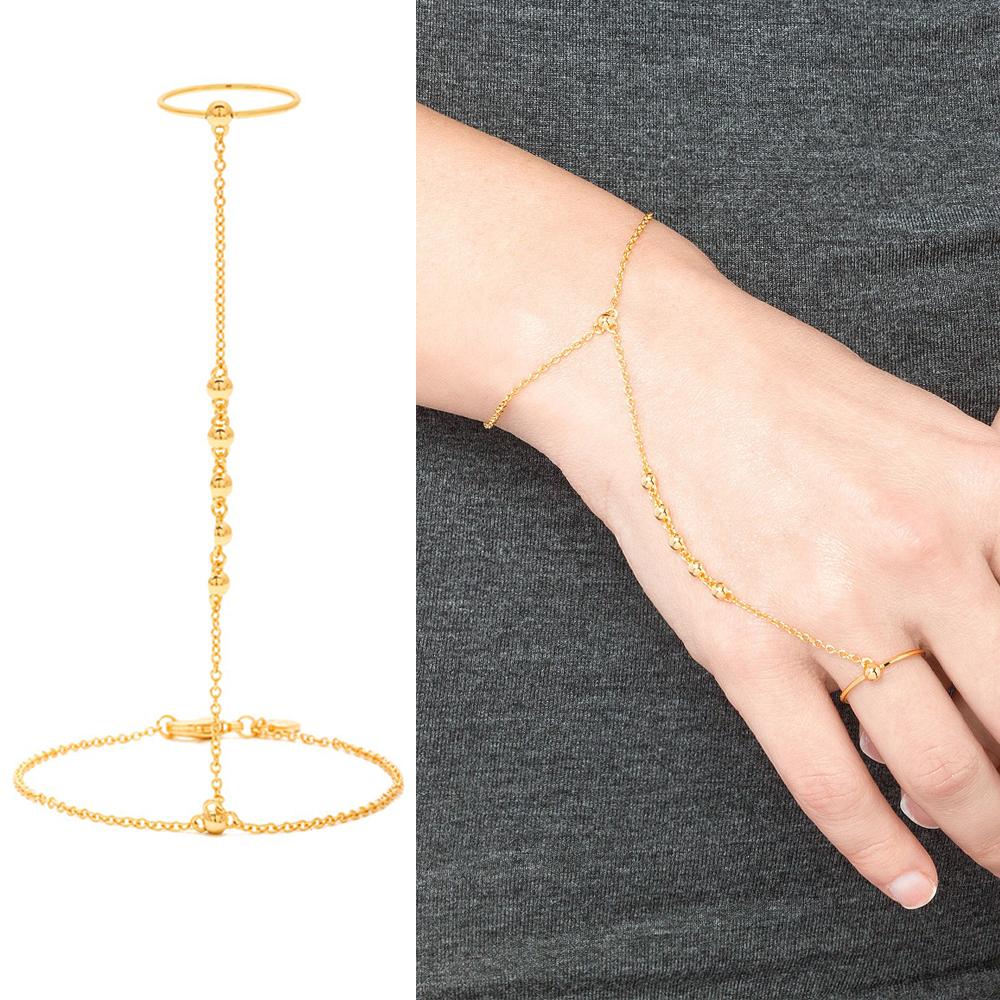 Gorjana Bali 多墜優雅豆豆 金色戒指X手背鍊X手鍊 一體成形連接式設計