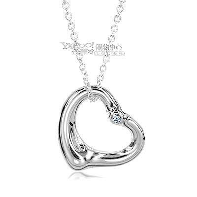 Tiffany&Co. Open Heart 925純銀愛心鑲鑽墜飾項鍊