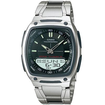 CASIO 都會風雙顯商務不鏽鋼帶錶(AW-81D-1A)-黑/38.6mm